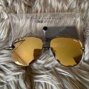 Quay x Desi High Key Antique gold Sunglasses